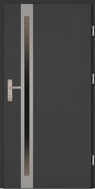 Drzwi zewnętrzne wejściowe antracyt INOX Marcello Uno Plus 68 mm