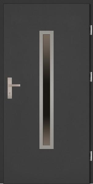 Drzwi zewnętrzne wejściowe antracyt ramka INOX Dario Plus 68 mm