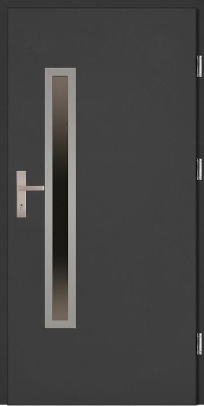 Drzwi zewnętrzne wejściowe antracyt ramka INOX Dario Uno Plus 68 mm