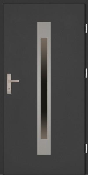 Drzwi zewnętrzne wejściowe antracyt INOX Fabio Plus 68 mm