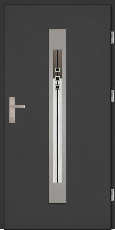 Drzwi zewnętrzne wejściowe antracyt INOX Fabio Plus DIP 68 mm