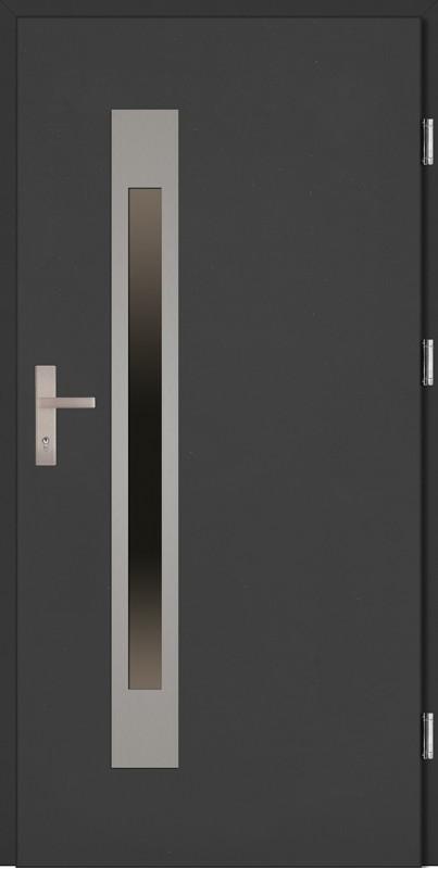 Drzwi zewnętrzne wejściowe antracyt INOX Fabio Uno Plus 68 mm
