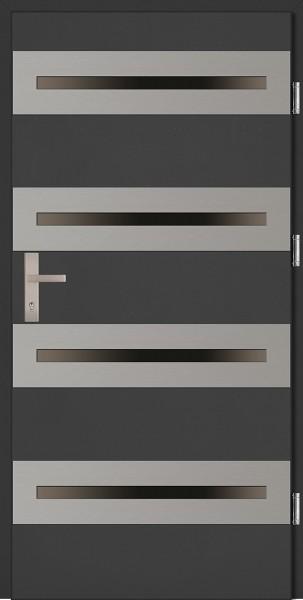 Drzwi zewnętrzne wejściowe antracyt ramka INOX Alberto Plus 68 mm