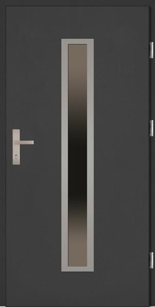 Drzwi zewnętrzne wejściowe antracyt INOX Diego Plus 68 mm