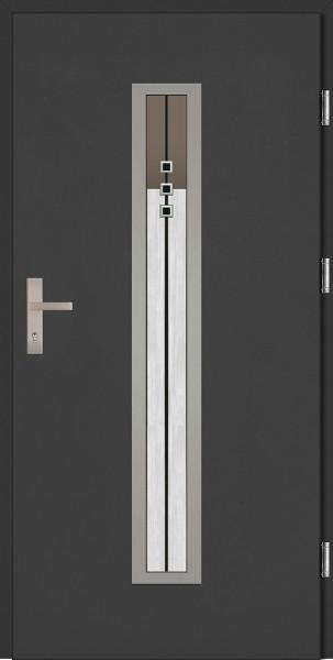 Drzwi zewnętrzne wejściowe antracyt INOX Diego Plus DIP 68 mm