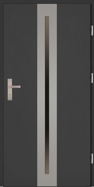 Drzwi zewnętrzne wejściowe białe INOX Matteo Plus 68 mm