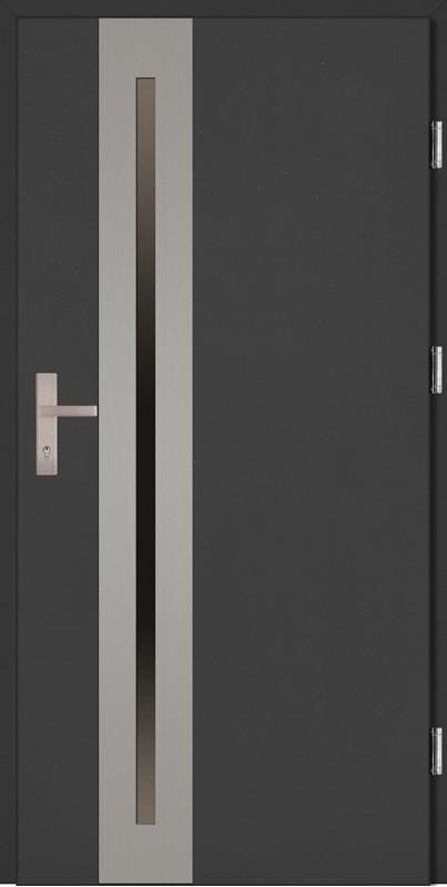 Drzwi zewnętrzne wejściowe antracyt ramka INOX Matteo Uno Plus 68 mm