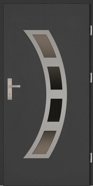 Drzwi zewnętrzne wejściowe antracyt INOX Ricardo Plus 68 mm