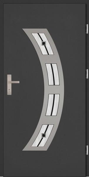 Drzwi zewnętrzne wejściowe antracyt INOX Ricardo Plus DIP 68 mm