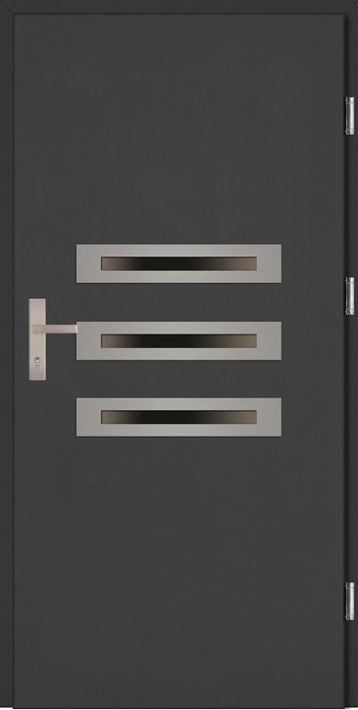 Drzwi zewnętrzne wejściowe antracyt ramka INOX Angelo Plus 68 mm