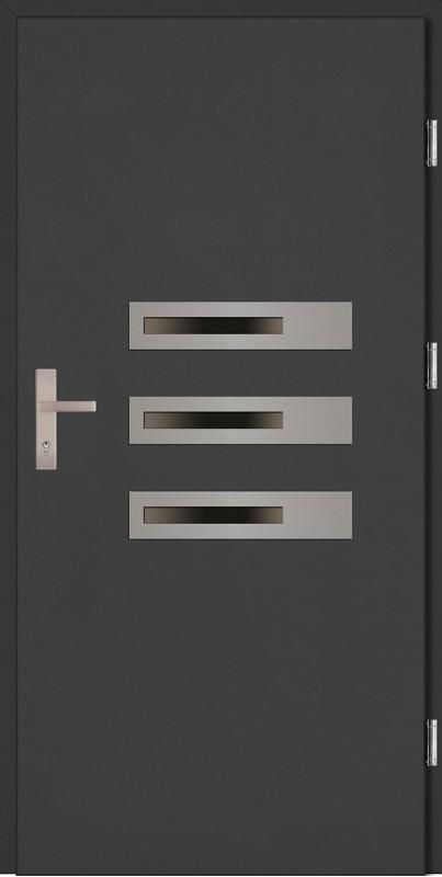 Drzwi zewnętrzne wejściowe antracyt ramka INOX Armando Plus 68 mm