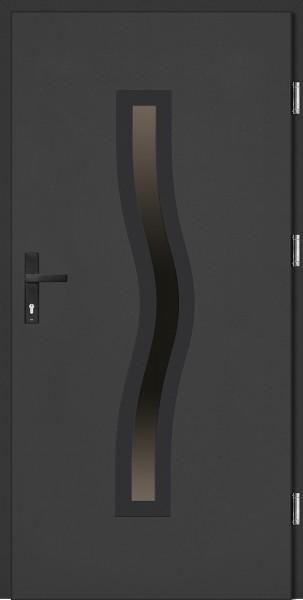 Drzwi zewnętrzne wejściowe antracyt ramka NERO Rino Plus 68 mm