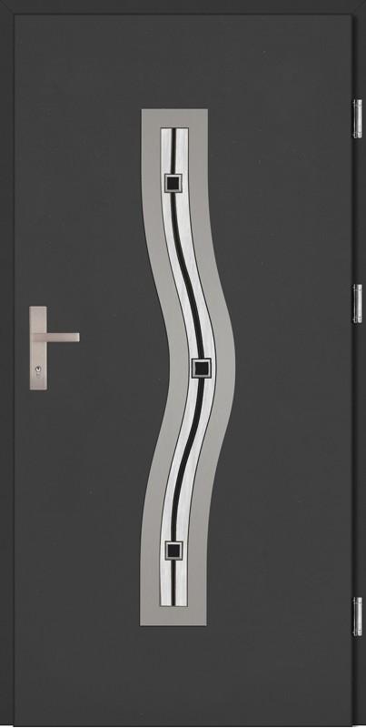 Drzwi zewnętrzne wejściowe antracyt ramka INOX Rino Plus DIP 68 mm