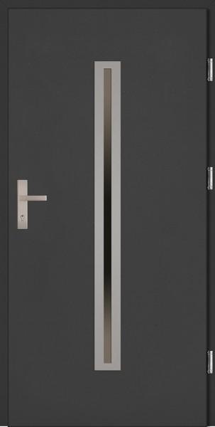 Drzwi zewnętrzne wejściowe antracyt ramka INOX  Paolo Plus 68 mm