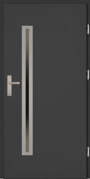 Drzwi zewnętrzne wejściowe białe ramka INOX Paolo Uno Plus 68 mm