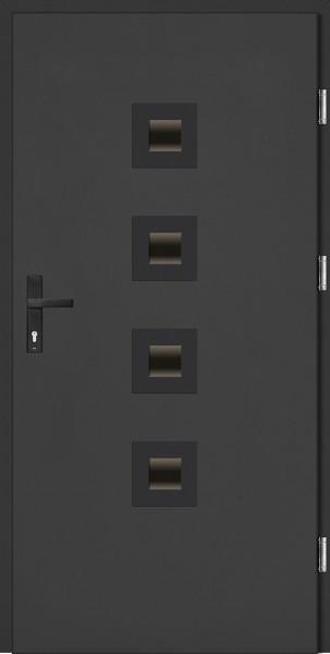 Drzwi zewnętrzne wejściowe antracyt ramka NERO Carlo Plus 68 mm