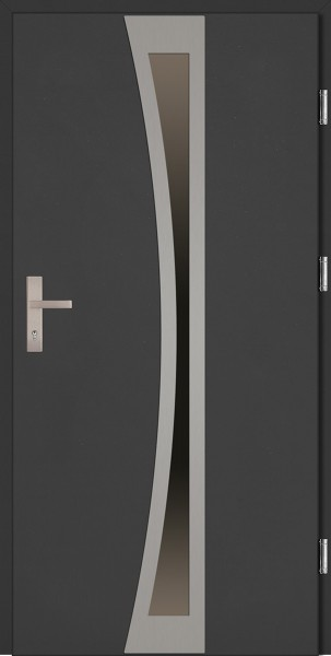 Drzwi zewnętrzne wejściowe antracyt ramka INOX Ivo Plus 68 mm