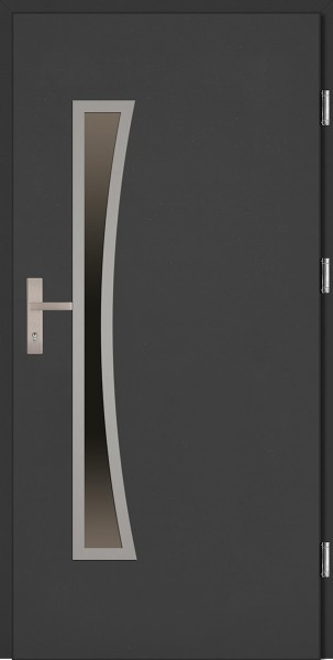Drzwi zewnętrzne wejściowe antracyt INOX Raffaello Uno Plus 68 mm