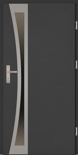 Drzwi zewnętrzne wejściowe antracyt ramka INOX Ivo Uno Plus 68 mm