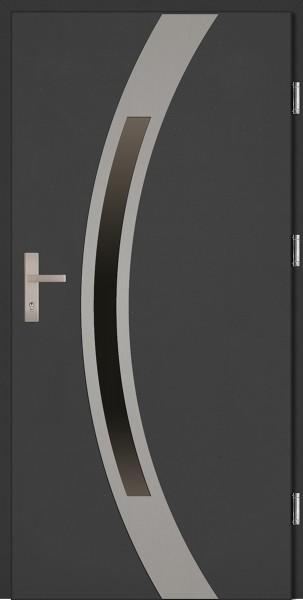 Drzwi zewnętrzne wejściowe antracyt INOX Luciano Uno Plus 68 mm