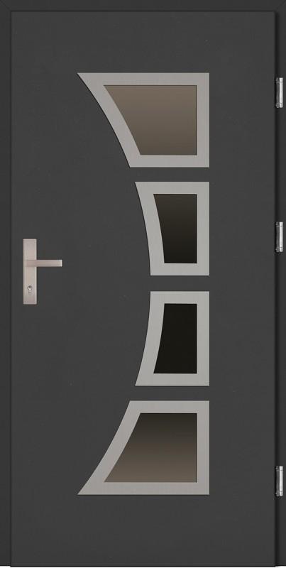 Drzwi zewnętrzne wejściowe antracyt ramka INOX Mario Plus 68 mm