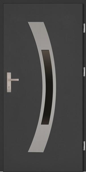 Drzwi zewnętrzne wejściowe antracyt INOX Antonio Plus 68 mm