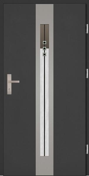 Drzwi zewnętrzne wejściowe antracyt ramka INOX Sergio Plus DIP 68 mm