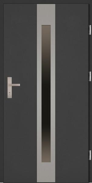 Drzwi zewnętrzne wejściowe antracyt ramka INOX Sergio Plus 68 mm