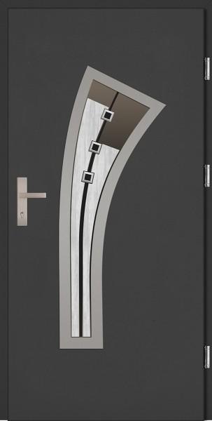 Drzwi zewnętrzne wejściowe antracyt ramka INOX Leonardzo Plus DIP 68 mm