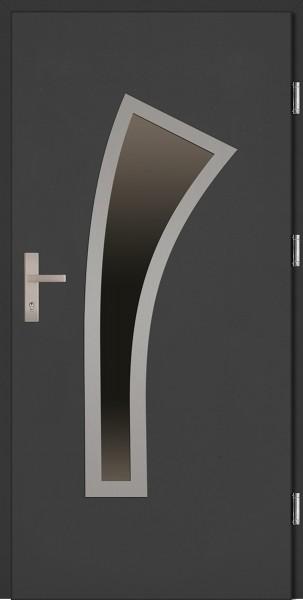Drzwi zewnętrzne wejściowe antracyt ramka INOX Leonardzo Plus 68 mm