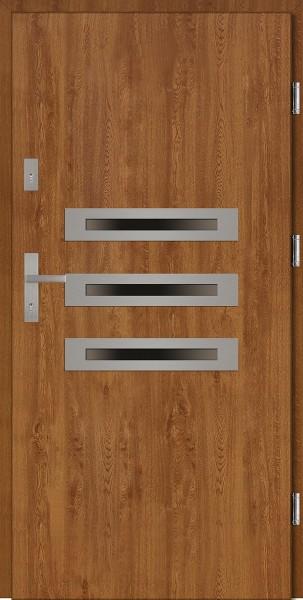 Drzwi wejściowe zewnętrzne złoty dąb ramka INOX Angelo 56 mm