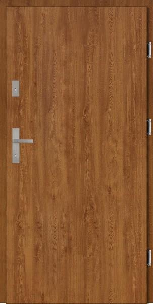 Drzwi wejściowe zewnętrzne złoty dąb ramka INOX Pełne 56 mm