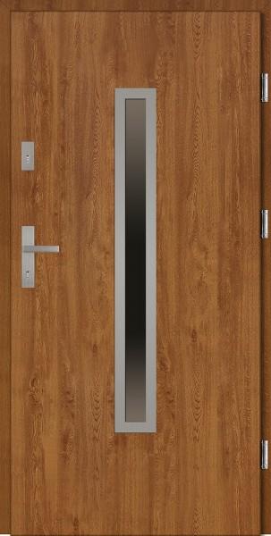 Drzwi wejściowe zewnętrzne złoty dąb ramka INOX Dario 56 mm
