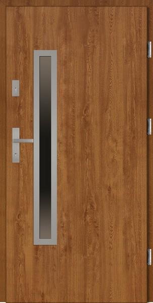Drzwi wejściowe zewnętrzne złoty dąb ramka INOX Dario Uno 56 mm