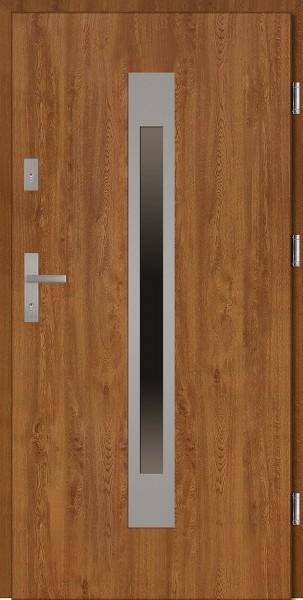 Drzwi wejściowe zewnętrzne złoty dąb ramka INOX Fabio 56 mm