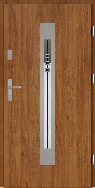 Drzwi wejściowe zewnętrzne złoty dąb ramka INOX Fabio DIP 56 mm