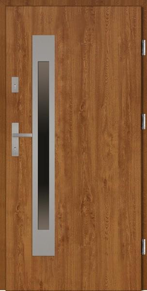 Drzwi wejściowe zewnętrzne złoty dąb ramka INOX Fabio Uno 56 mm