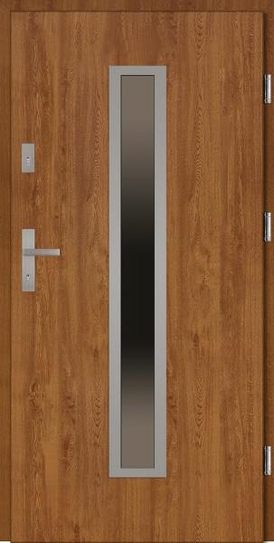 Drzwi wejściowe zewnętrzne złoty dąb ramka INOX Diego 56 mm