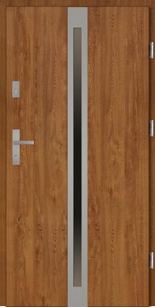 Drzwi wejściowe zewnętrzne złoty dąb ramka INOX Marcello 56 mm