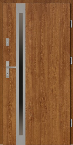 Drzwi wejściowe zewnętrzne złoty dąb ramka INOX Marcello Uno 56 mm
