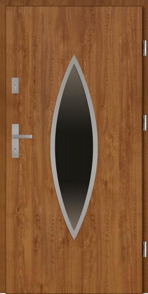 Drzwi wejściowe zewnętrzne złoty dąb ramka INOX Ernesto 56 mm