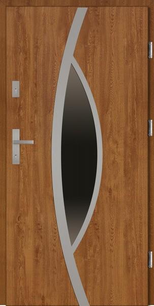 Drzwi wejściowe zewnętrzne złoty dąb ramka INOX Lorenzo 56 mm