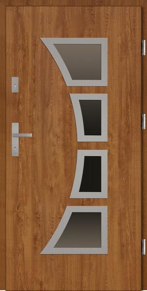 Drzwi wejściowe zewnętrzne złoty dąb ramka INOX Mario 56 mm