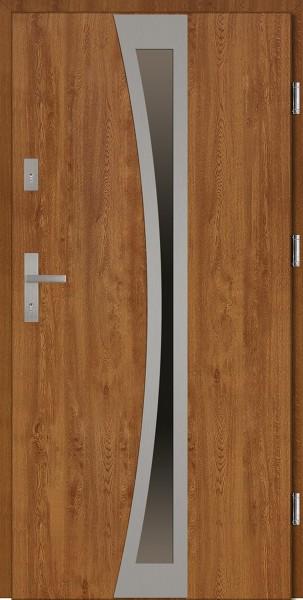 Drzwi wejściowe zewnętrzne złoty dąb ramka INOX Ivo 56 mm