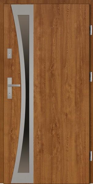Drzwi wejściowe zewnętrzne złoty dąb ramka INOX Ivo Uno 56 mm