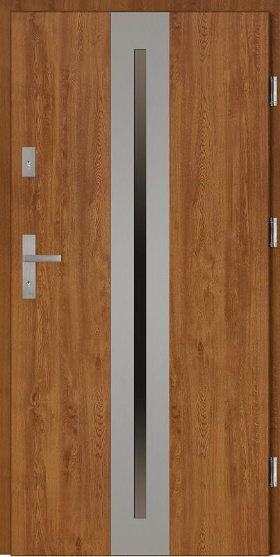 Drzwi wejściowe zewnętrzne złoty dąb ramka INOX Matteo 56 mm