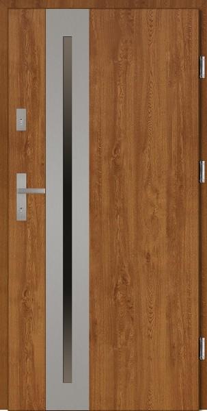 Drzwi wejściowe zewnętrzne złoty dąb ramka INOX Matteo Uno 56 mm
