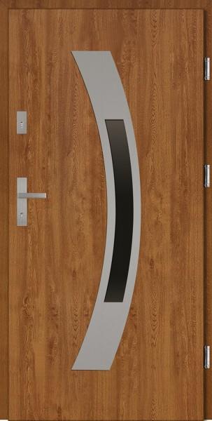 Drzwi wejściowe zewnętrzne złoty dąb ramka INOX Antonio 56 mm