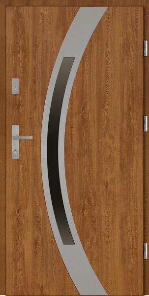 Drzwi wejściowe zewnętrzne złoty dąb ramka INOX Luciano Uno 56 mm