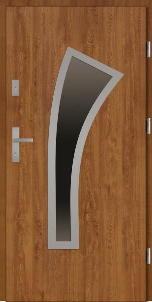 Drzwi wejściowe zewnętrzne złoty dąb ramka INOX Leonardo 56 mm